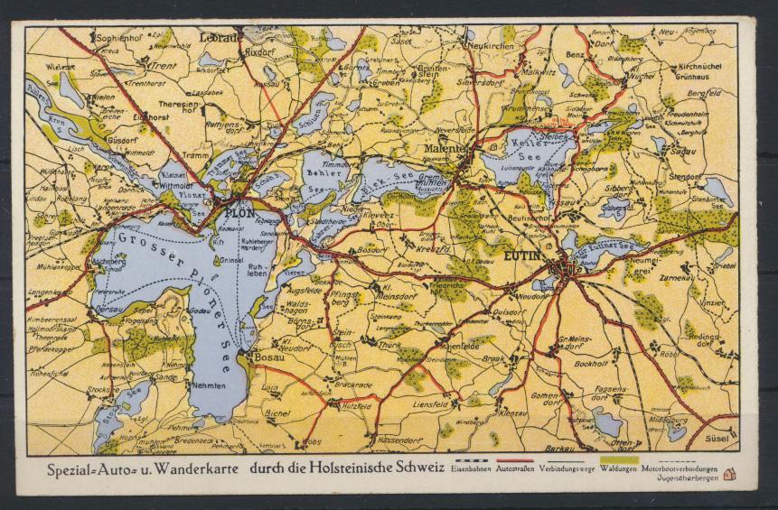 Ansichtskarte Spezial Auto Wanderkarte Holstein Schweiz Landkarte Kartographie  0