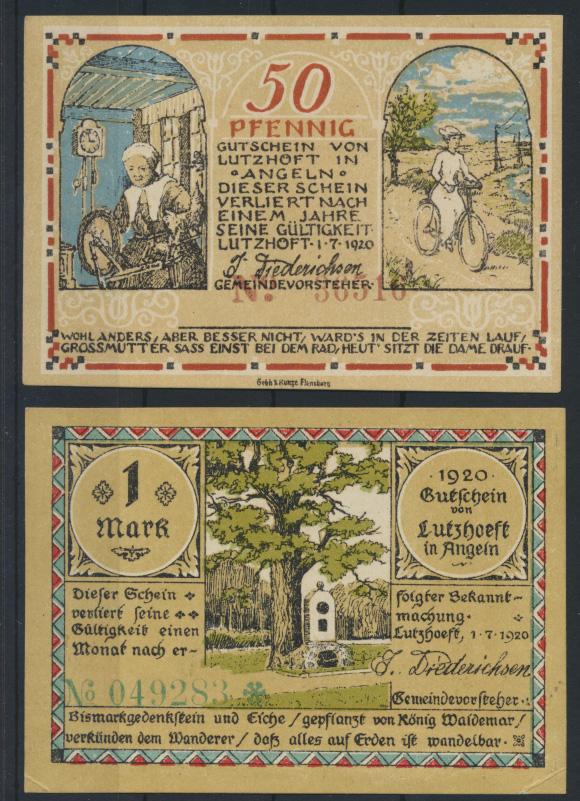 Geldschein Banknote Notgeld Lutzhöft Schleswig 0,50 - 1 Mark Motiv Fahrrad 0