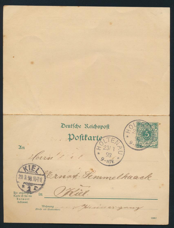 Deutsches Reich Ganzsache P 31 C Frage Antwort Holtenau Schleswig Kiel 28.3.1898 0