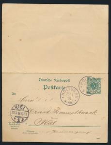 Deutsches Reich Ganzsache P 31 C Frage Antwort Holtenau Schleswig Kiel 28.3.1898