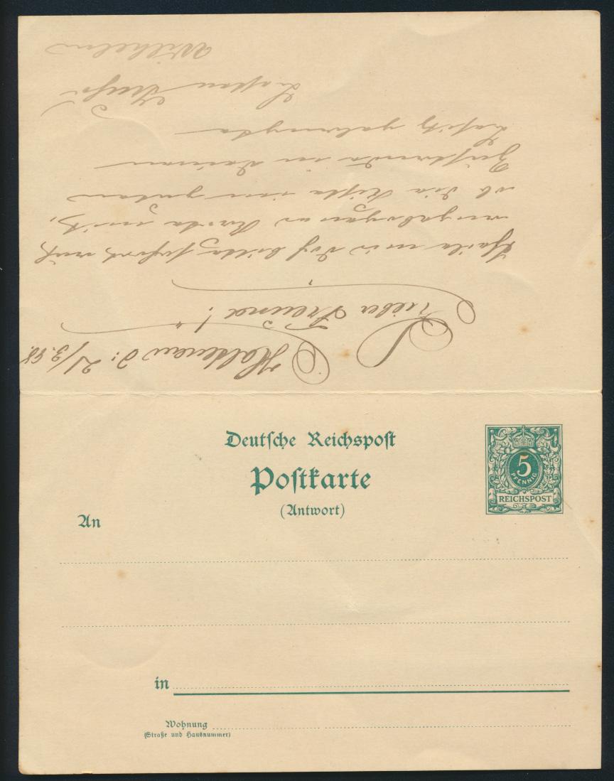 Deutsches Reich Ganzsache P 31 C Frage Antwort Holtenau Schleswig Kiel 28.3.1898 1