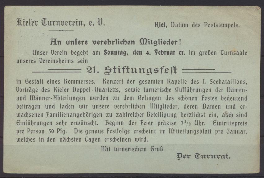 Deutsches Reich Ganzsache P 63 X Zudruck Kiel Turnverein Stiftungsfest 31.1.1906 0