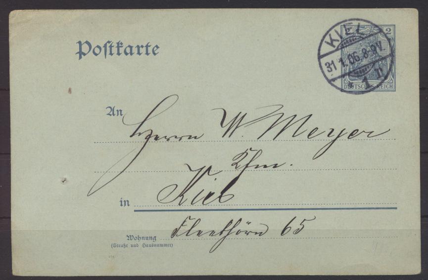 Deutsches Reich Ganzsache P 63 X Zudruck Kiel Turnverein Stiftungsfest 31.1.1906 1