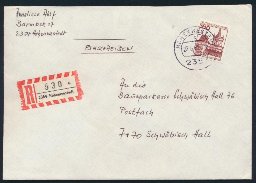 Bund R Brief EF 998 Burgen Schlösser Hohenwestedt nach Schwäbisch Hall 0
