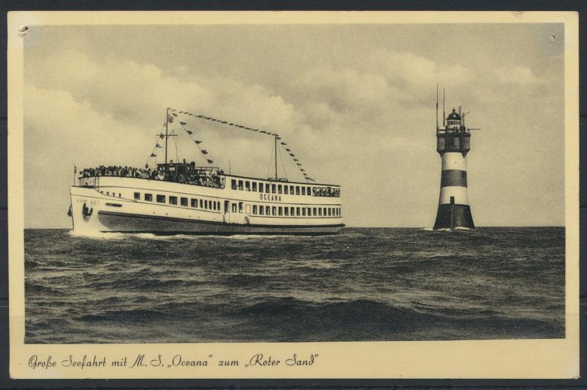 Ansichtskarte Schifffahrt Seefahrt Marine MS Oceana Leuchtturm Roter Sand  0