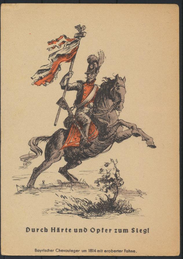 Feldpost Ansichtskarte Militaria Napoleon Krieg Soldat Chevauleger Bayern Fahne  0