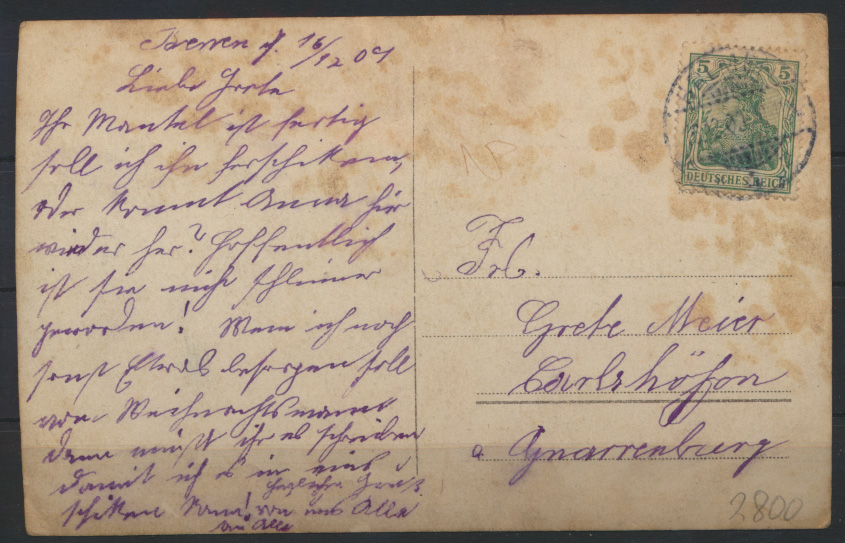 Ansichtskarte Bremen Familie Privathaus 1909 nach Carlshöfen 1