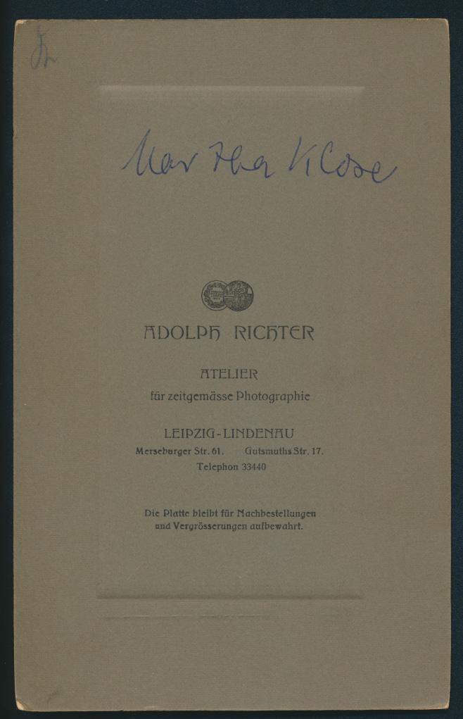 Original Fotoplatte Martha Klose Atelier Adolf Richter Leipzig Lindenau  1