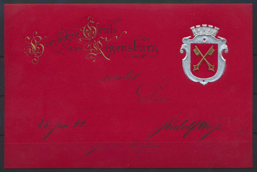 Ansichtskarte Regensburg Wappen tolle Prägekart nach Innsbruck Österreich 1899 0