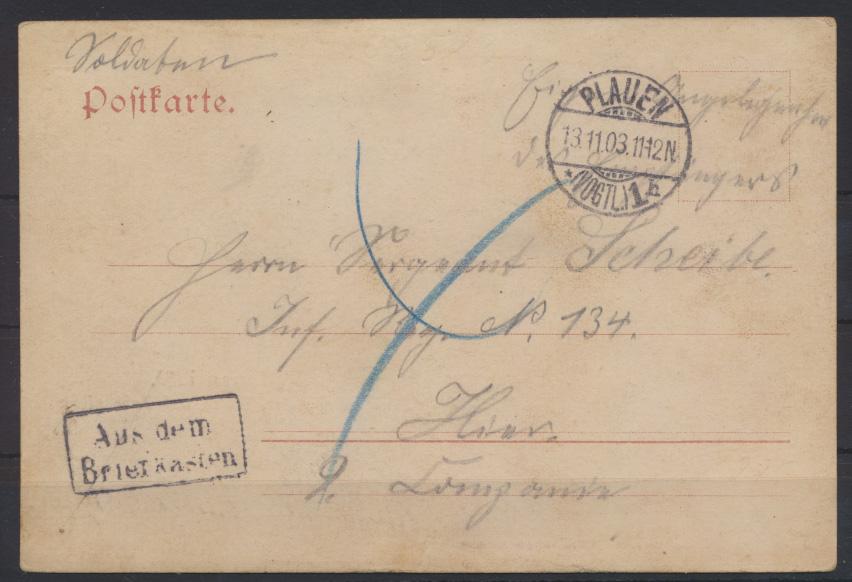 Ansichtskarte Plauen Theater Schloß Kirche mit R2 Aus dem Briefkasten 13.11.1903 0