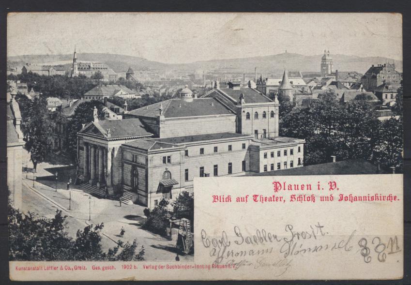 Ansichtskarte Plauen Theater Schloß Kirche mit R2 Aus dem Briefkasten 13.11.1903 1
