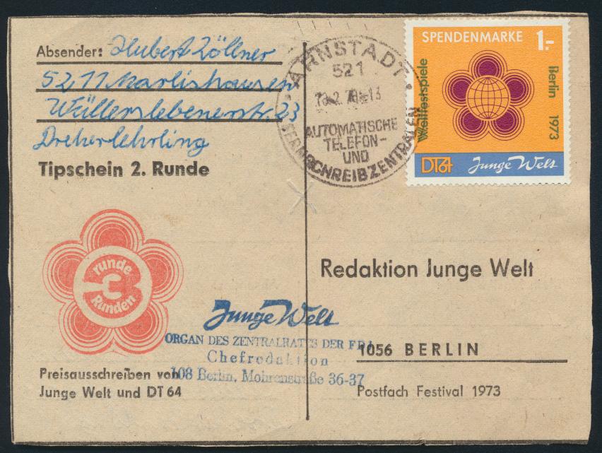 DDR Spendenmarke EF 1 Zeitung Junge Welt Weltfestspiele Srnstadt nach Berlin  0