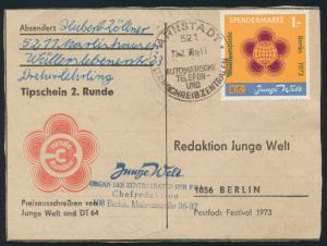 DDR Spendenmarke EF 1 Zeitung Junge Welt Weltfestspiele Srnstadt nach Berlin