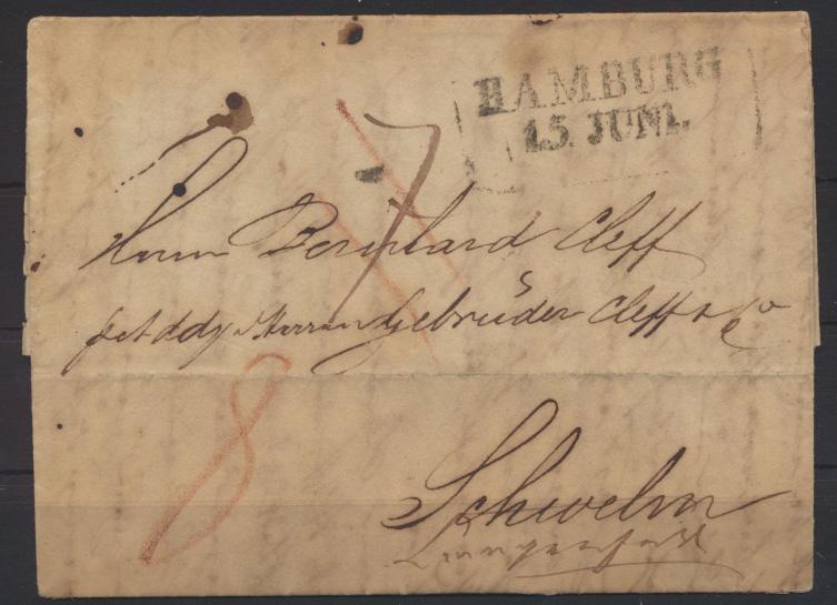 Altdeutschland Vorphila Brief mit R2 Hamburg 15. Juni n Schwelm weitergeleitet  0