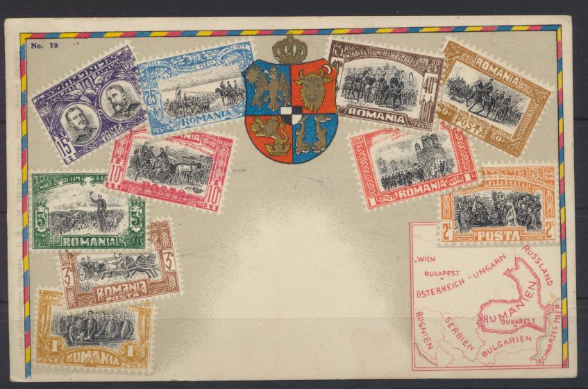 Ansichtskarte Landkarte Briefmarken Rumänien Bundeskampfspiele Graz Österreich  0