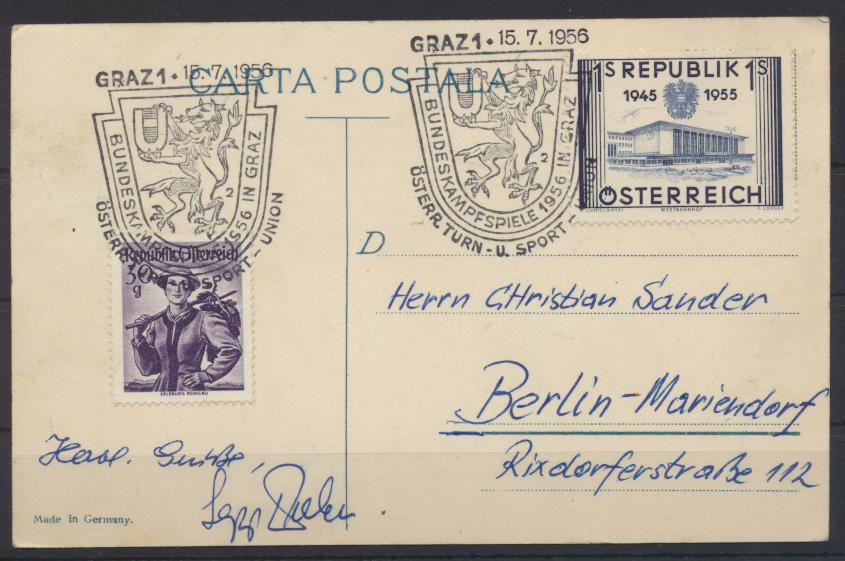 Ansichtskarte Landkarte Briefmarken Rumänien Bundeskampfspiele Graz Österreich  1