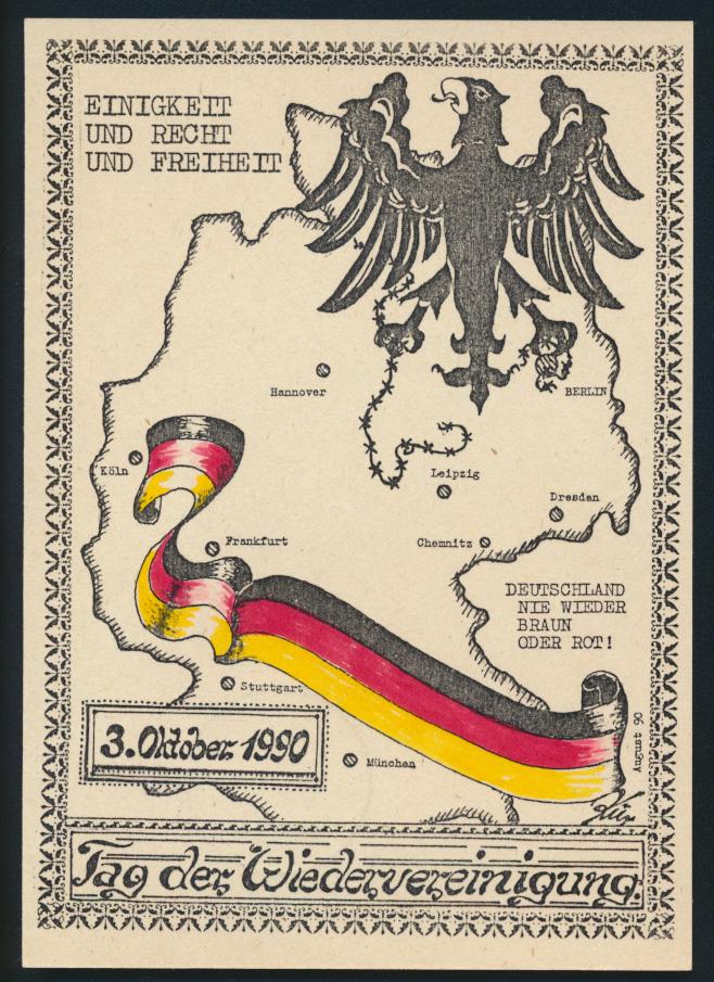 DDR Ansichtskarte Leipzig Wiedervereinigung Landkarte Kartographie Politik  0