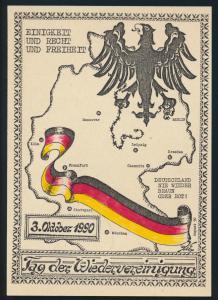 DDR Ansichtskarte Leipzig Wiedervereinigung Landkarte Kartographie Politik