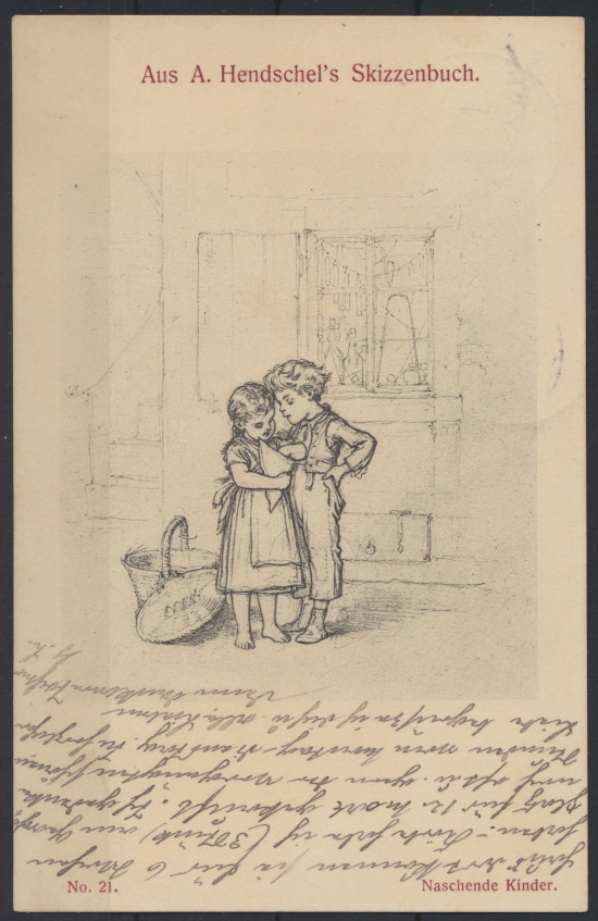 Künstler Ansichtskarte Hendschels Skizzenbuch Naschende Kinder Nr 21 Dresden  0