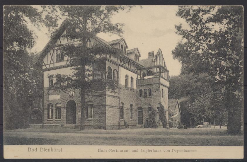 Ansichtskarte Blenhorst Bade Restaurant von Pepenhausen Nienburg n. Bremen 1907 0