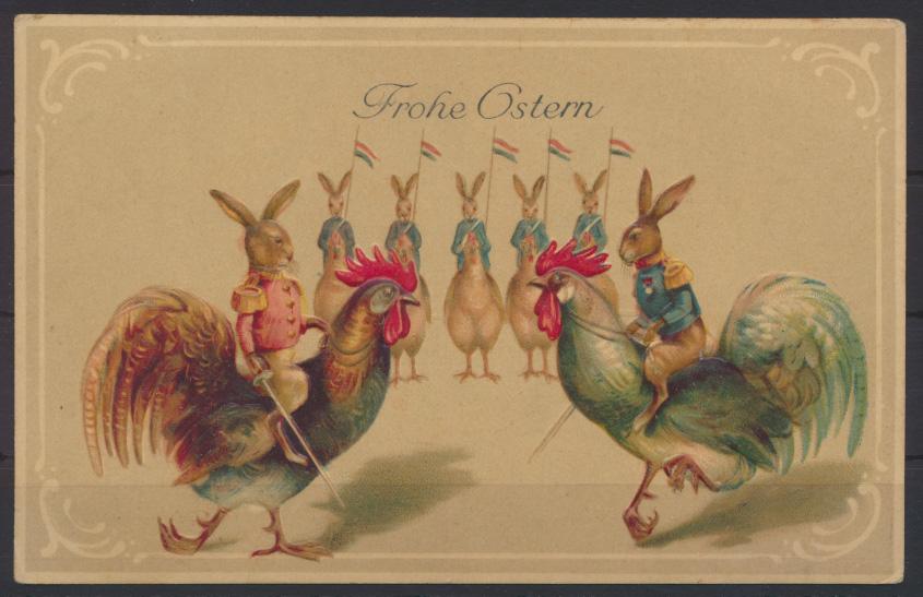 Tolle Präge Ansichtskarte Ostern Geflügel Hahn Glückwunsch ungelaufen 0