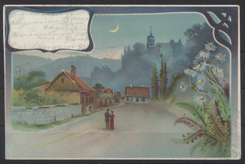 Tolle Jugenstil Art Nouveau Ansichtskarte Mondschein Liebe Pärchen Romantik 0