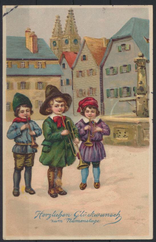 Schöne Präge Ansichtskarte Kinder Musikinstrumente Glückwunsch Namenstag Krefeld 0