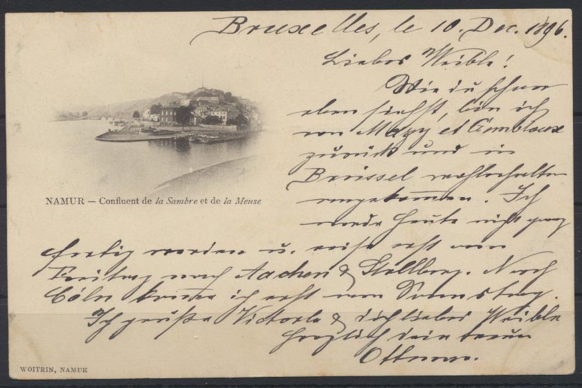 Ansichtskarte Namur Belgien 1896 nach Ulm 0