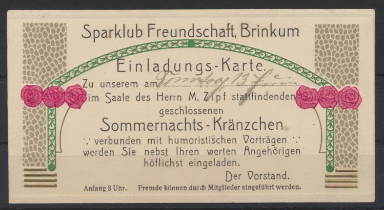 Brinkum Sparklub Freundschaft Einladung schönes Jugendstil Art Nouveau Kärtchen 0