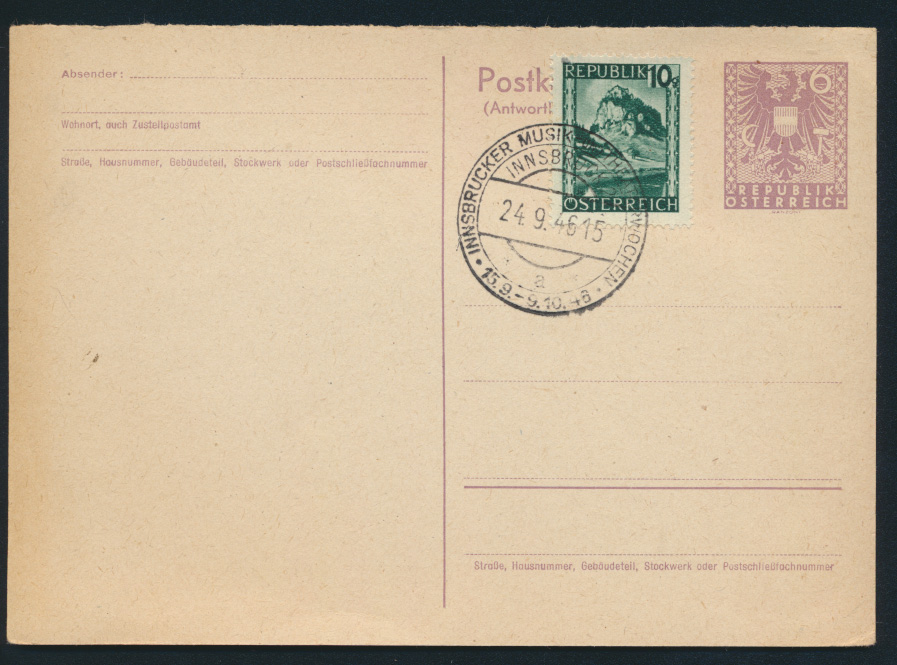 Österreich Ganzsache P 324 A mit SST Innsbruck Musik + Theaterwoche 1946 0