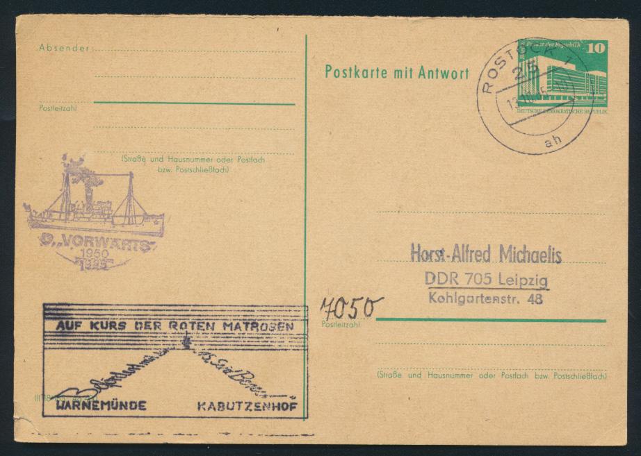 DDR Ganzsache P 85F mit Schifffahrt Stempel Dampfer Vorwärts rote Matrosen 0
