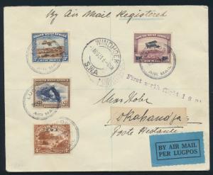 Flugpost Brief Südafrika Namibia 120 144 164 166 Erstflug Windhoek Okahandja