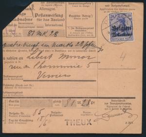 Besetzung 1914-18 Landespost Belgien Auslandspostanweisung MIF3+4 Theux Verviers