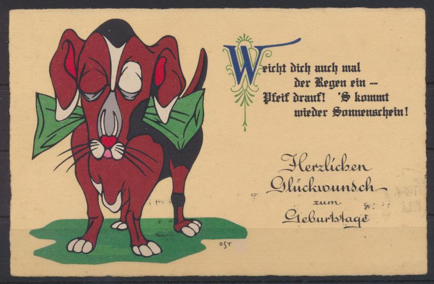 Künstler Ansichtskarte Glückwunsch Geburtstag sign OST Berlin Tiere Kuh Landwirt 0