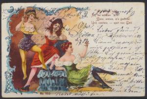 Künstler Ansichtskarte Jugendstil Art Nouveau Erotik Frauen Wir bleiben ledig...