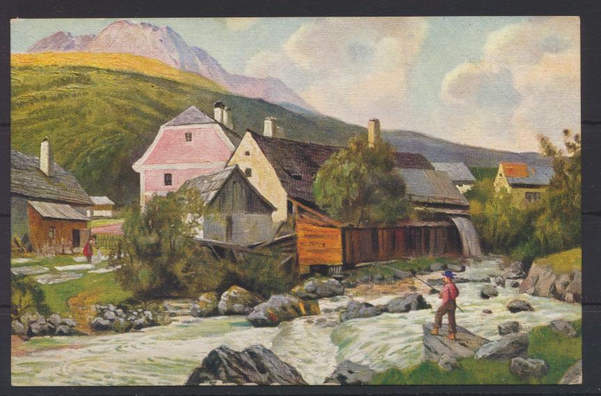 Künstler Ansichtskarte Marke Egemes Serie 44 Nr. 3 Landschaft angeln ungelaufen 0