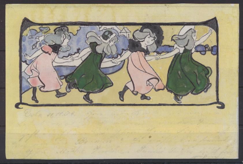 Jugendstil Art Nouveau Künstler Ansichtskarte handcoloriert Tanz Frauen 0
