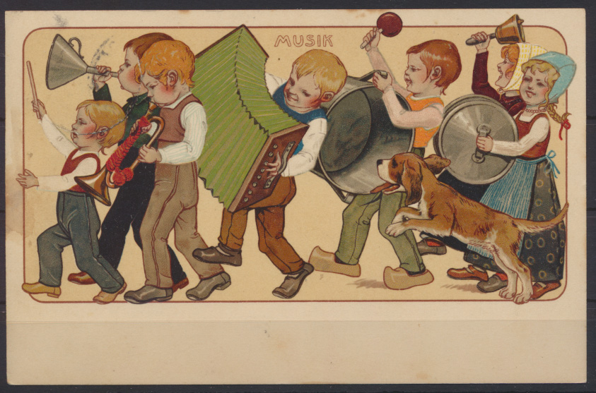 Jugendstil Art Nouveau Künstler Ansichtskarte Musik Kinder Magdeburg Aschaffenbu 0