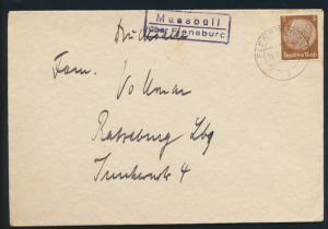 Deutsches Reich Brief EF Hindenburg mit Landpoststempel Maasfeld über Flensburg