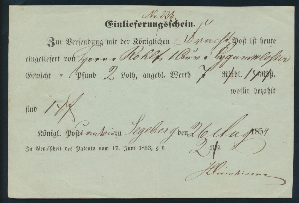 Schleswig Segeberg Einlieferungsschein Königliche Frachtpost nach Lygumkloster 0