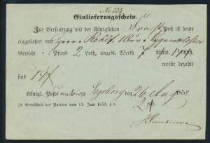 Schleswig Segeberg Einlieferungsschein Königliche Frachtpost nach Lygumkloster