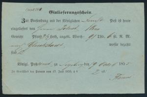 Schleswig Segeberg Einlieferungsschein Königliche Frachtpost nach Glückstadt