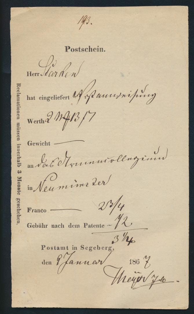 Schleswig Segeberg Postschein für eine Postanweisung nach Neumünster 9.1.1867 0