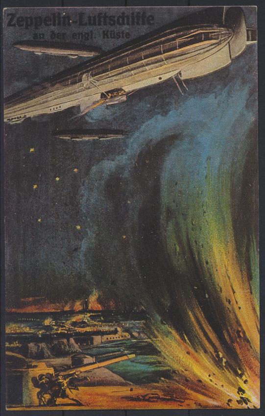 Ansichtskarte Zeppelin Luftschiffe an der englischen Küste  0
