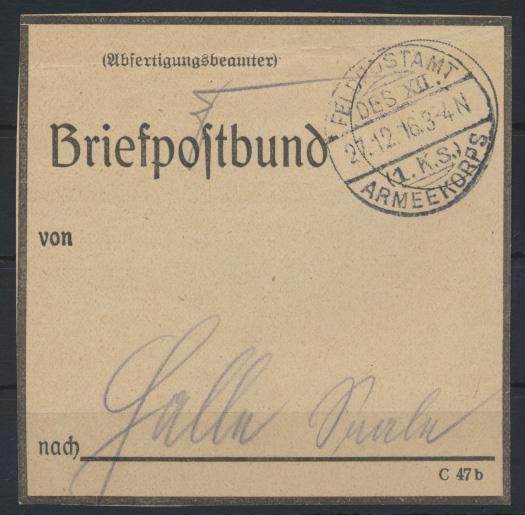 Feldpost I. WK Feldpostamt des XII.1.K.S. Armeekorps vorgedruckter Briefpostbund 0