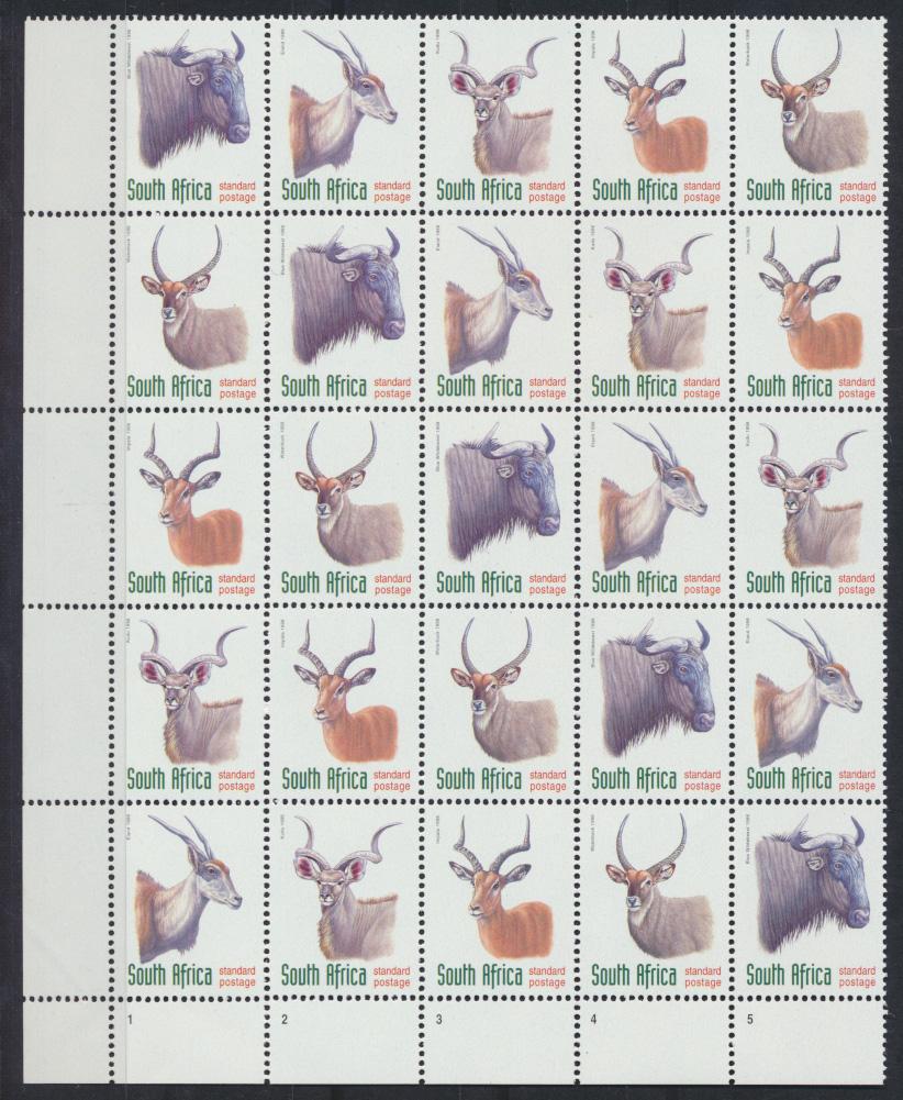 Südafrika 1124-1128 Tiere sehr selt. Kontrollblock von 25 Mk. Versuchsdruck in 0