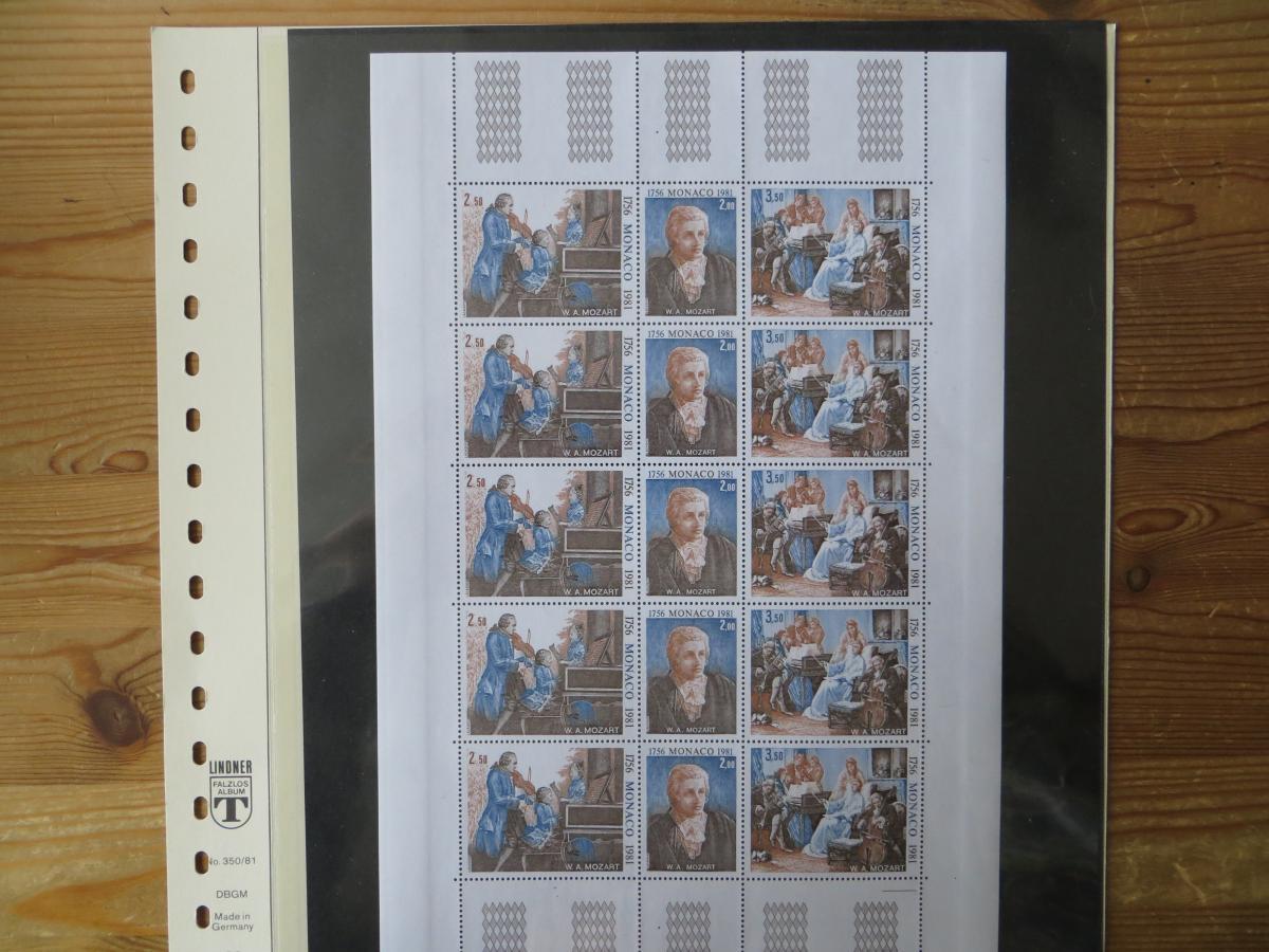 Monaco 1470-2 Kleinbogen 5 Dreierstreifen 15 Mk. Luxus postfrisch Mozart Musik 0