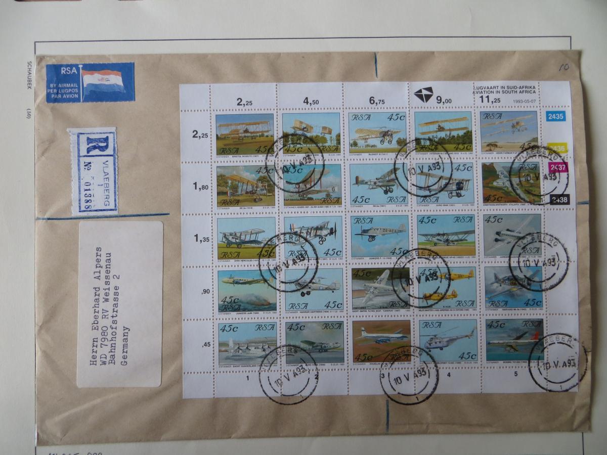 Südafrika Flugpost Zusammendruckbogen sehr selten auf R-Brief Vlaeberg Weissenau 0