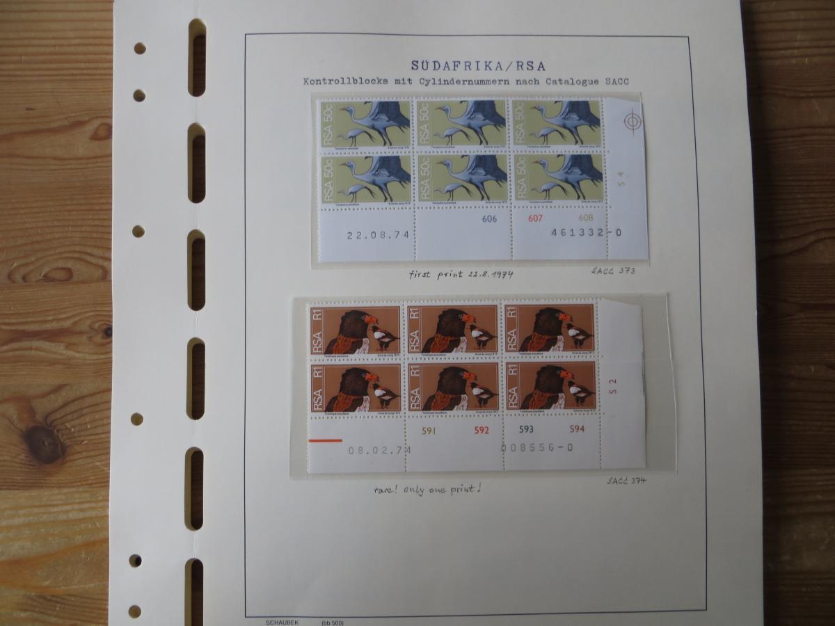 Südafrika Top - Spezial Sammlung von Kontrollblöcken mit Cylindernummern auf  0