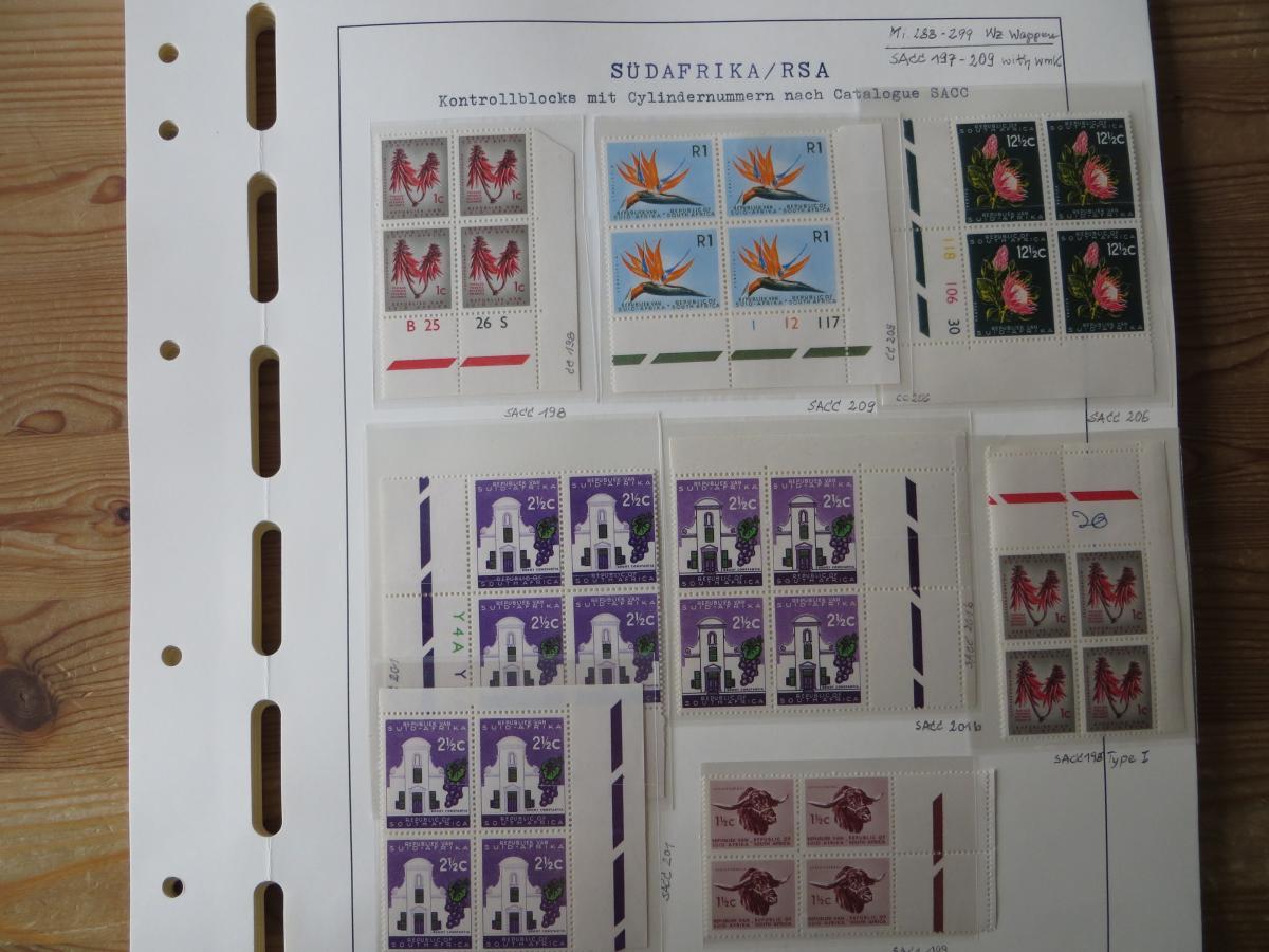 Südafrika Top - Spezial Sammlung von Kontrollblöcken mit Cylindernummern auf  1